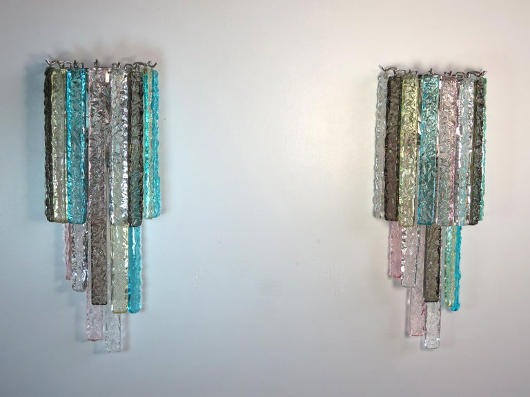 Pair of Vintage Murano Wall Sconce, 32 Multi-Color Prism Icicle In Good Condition For Sale In Gaiarine Frazione Francenigo (TV), IT