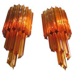 Pair of Vintage Murano Wall Sconce, 32 Quadriedri Amber Prism