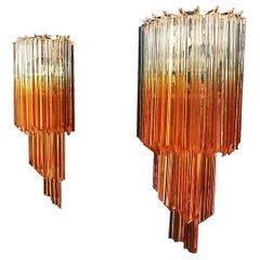Pair of Vintage Murano Wall Sconce, 32 Quadriedri Trasparent and Amber Prism