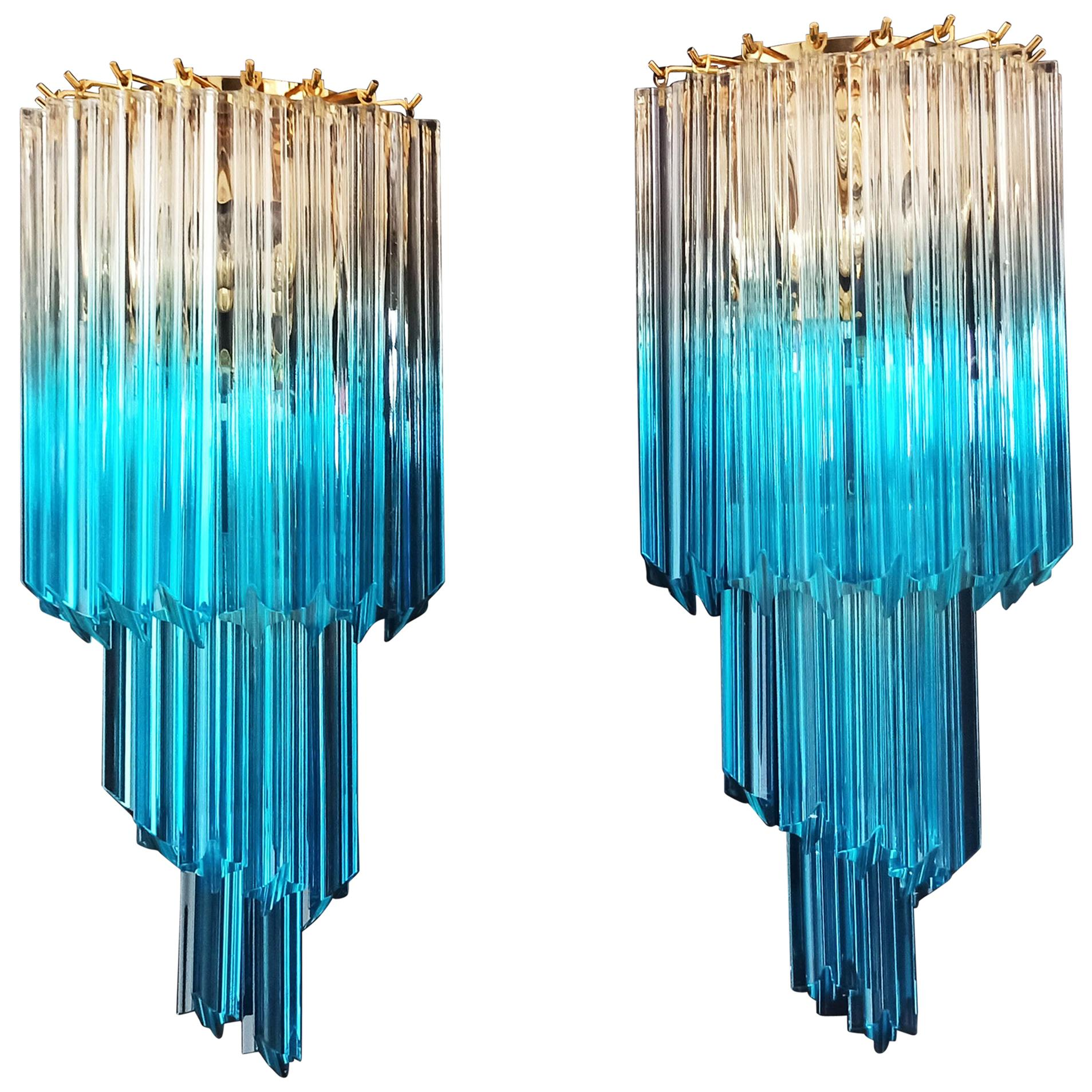Pair of Vintage Murano Wall Sconce, 32 Quadriedri Transparent and Blue Prism