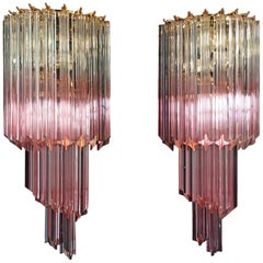 Pair of Vintage Murano Wall Sconce, 32 Quadriedri Transparent and Pink Prism