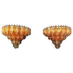 Pair of Vintage Murano Wall Sconce, 63 Clear and Amber Quadriedri