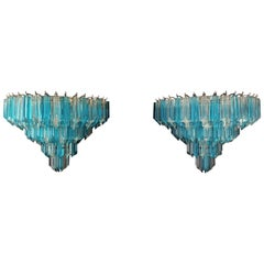 Pair of Vintage Murano Wall Sconce, 63 Clear and Blue Quadriedri