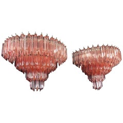 Pair of Vintage Murano Wall Sconce, 63 Pink Quadriedri