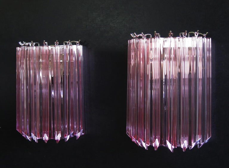Mid-Century Modern Pair of Vintage Murano Wall Sconce, 9 Pink Quadriedri