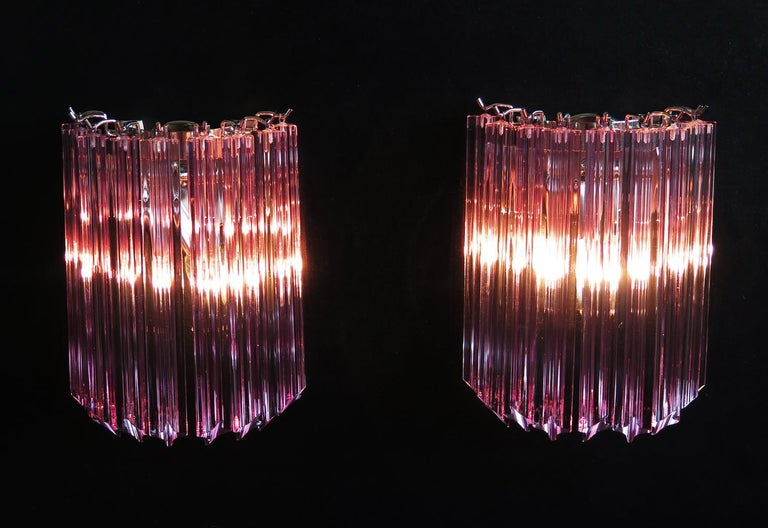 Blown Glass Pair of Vintage Murano Wall Sconce, 9 Pink Quadriedri