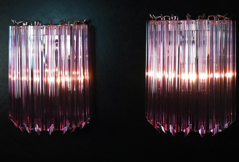 Pair of Vintage Murano Wall Sconce, 9 Pink Quadriedri 1
