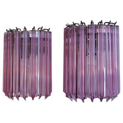 Pair of Vintage Murano Wall Sconce, 9 Pink Quadriedri
