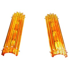 Pair of Vintage Murano Wall Sconce, Amber Triedri, Column Mariangela Model