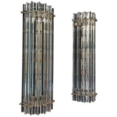 Pair of Vintage Murano Wall Sconce, Clear Triedri, Column Model