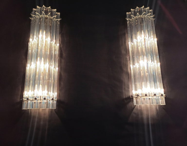Pair of Vintage Murano Wall Sconce, Iridescent Triedri Glass For Sale 8