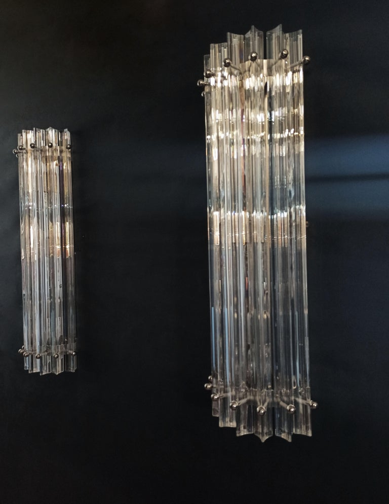 Pair of Vintage Murano Wall Sconce, Iridescent Triedri Glass For Sale 9