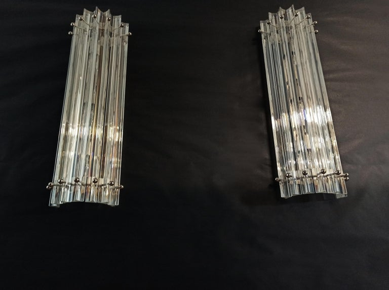 Pair of Vintage Murano Wall Sconce, Iridescent Triedri Glass For Sale 12