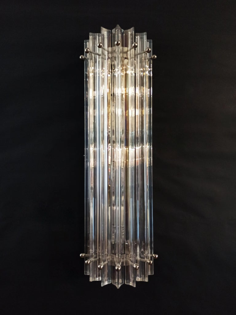 Mid-Century Modern Pair of Vintage Murano Wall Sconce, Iridescent Triedri Glass For Sale