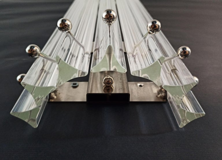 Late 20th Century Pair of Vintage Murano Wall Sconce, Iridescent Triedri Glass For Sale