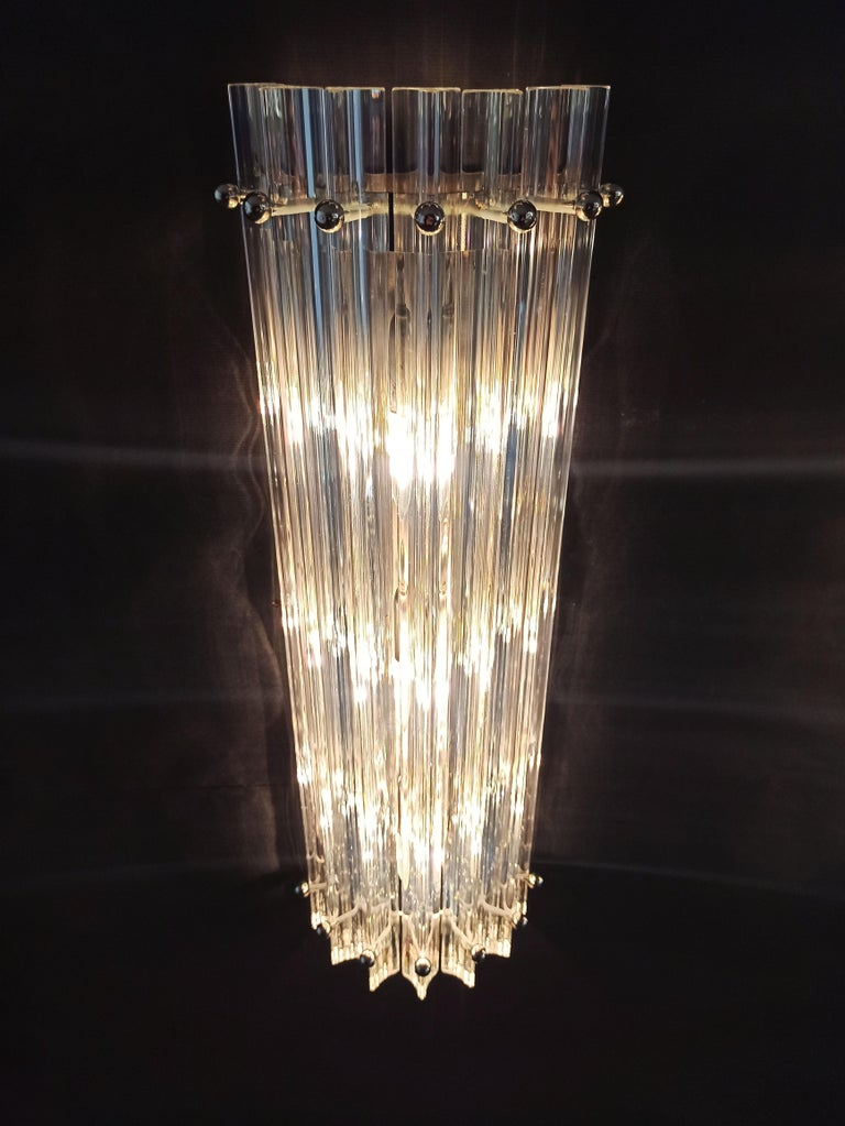 Pair of Vintage Murano Wall Sconce, Iridescent Triedri Glass For Sale 3