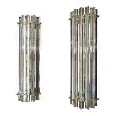 Pair of Vintage Murano Wall Sconce, Iridescent Triedri Glass