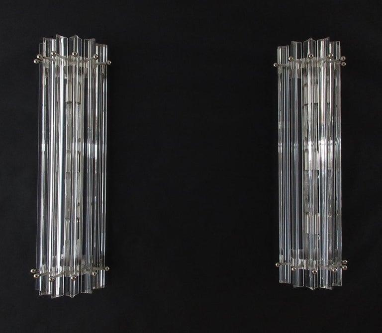 Blown Glass Pair of Vintage Murano Wall Sconce, Transparent Triedri Fantastic