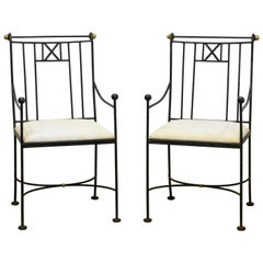 Pair of Vintage Neoclassical Style Wrought Iron and Brass Accents Armchairs