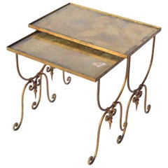 Pair of Vintage Nesting Metal Mounted Tables with Oxidized Glass Top
