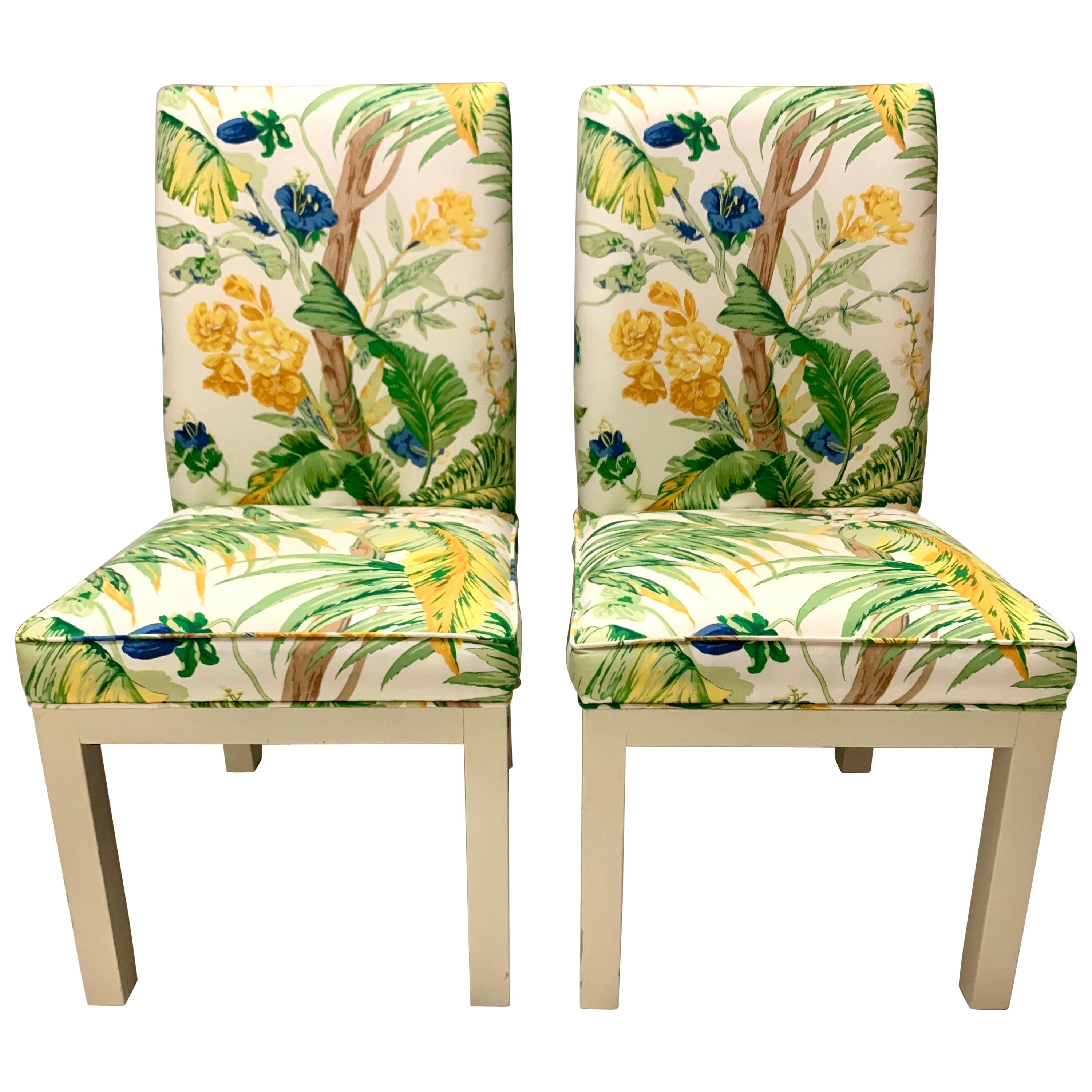 Pair of Vintage Newly Upholstered Slipper Chairs Lee Jofa Lilly Pulitzer Fabric