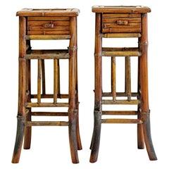 Pair of Vintage Nightstands in Bamboo