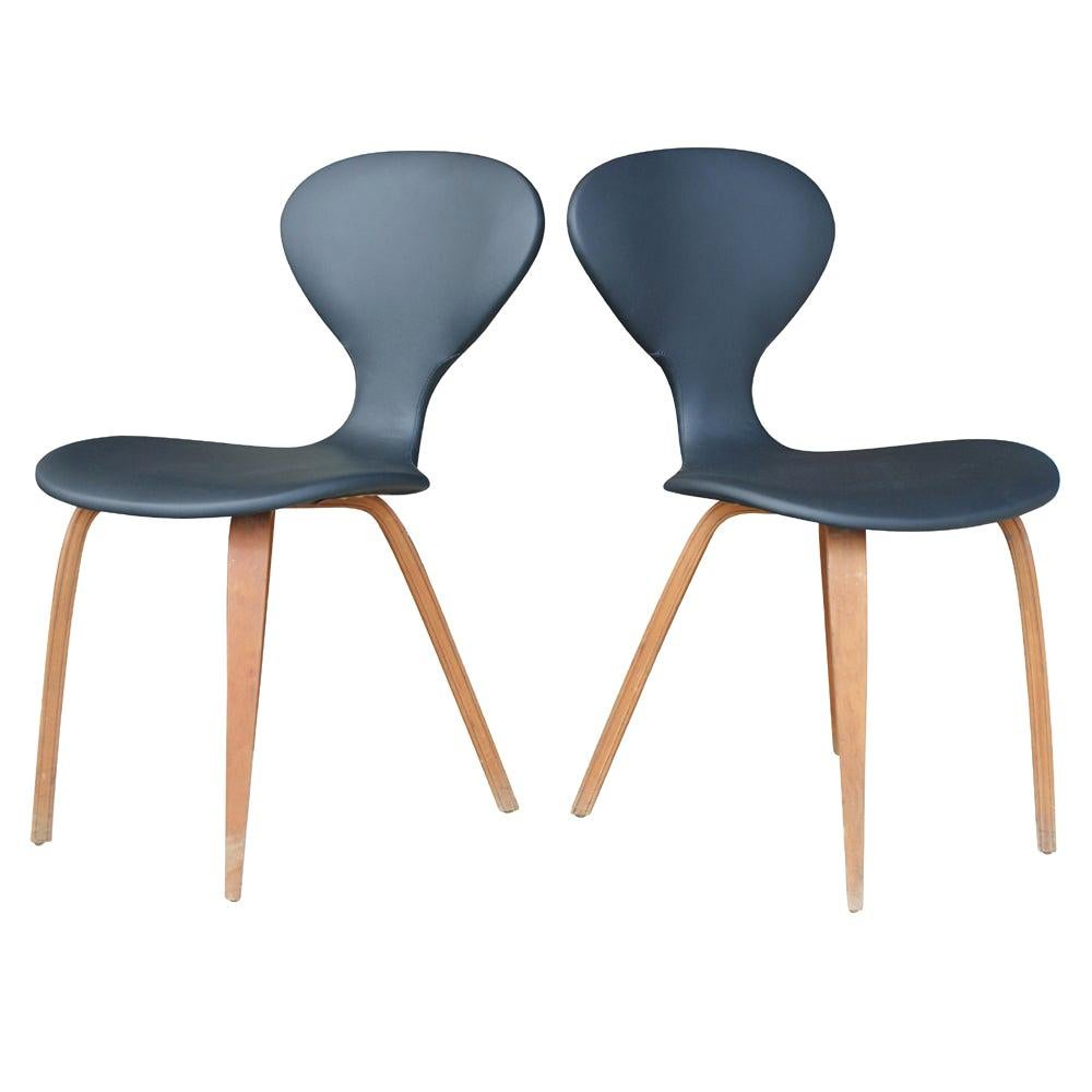 Pair of Vintage Norman Cherner Plycraft Wood Leather Chairs
