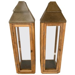 Pair of Vintage Oak Lanterns
