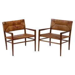 Pair of Vintage Oak and Rush Chairs by Mel Smilow, USA, 1960