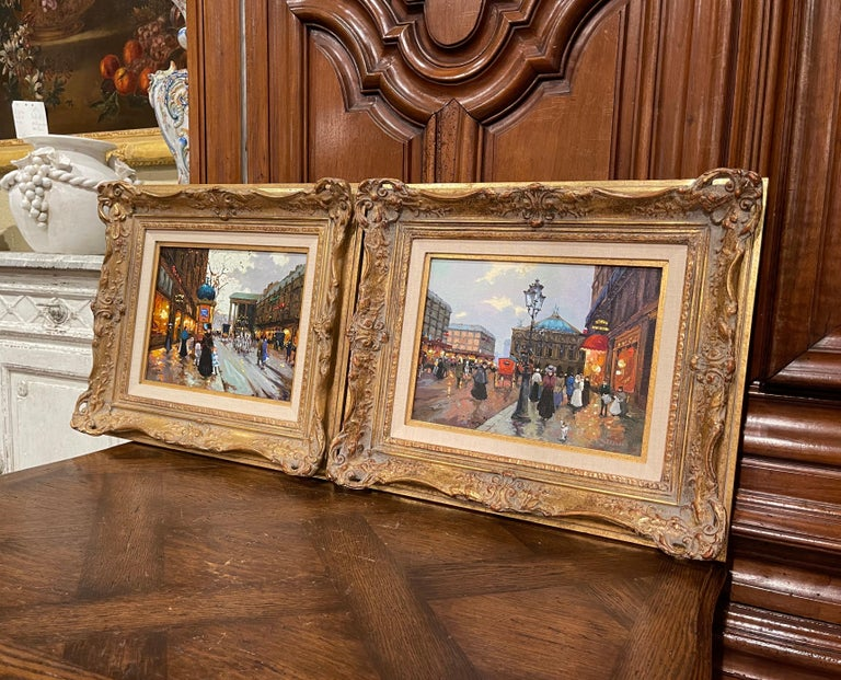 Pair of Vintage Oil on Canvas Paris Scenes Painting in Gilt Frames Signed Lebron For Sale 4