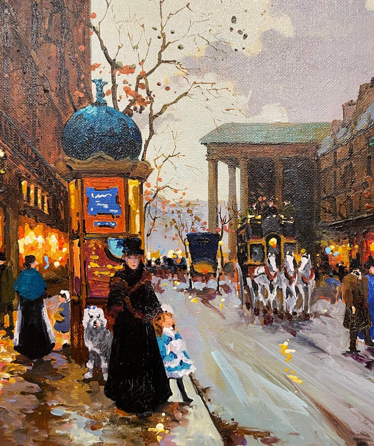 Pair of Vintage Oil on Canvas Paris Scenes Painting in Gilt Frames Signed Lebron For Sale 5