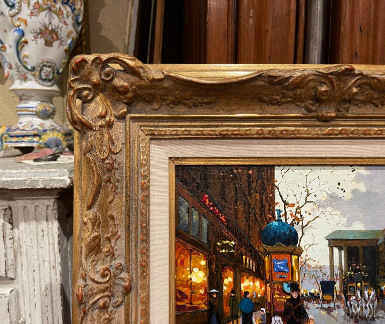 Pair of Vintage Oil on Canvas Paris Scenes Painting in Gilt Frames Signed Lebron For Sale 9