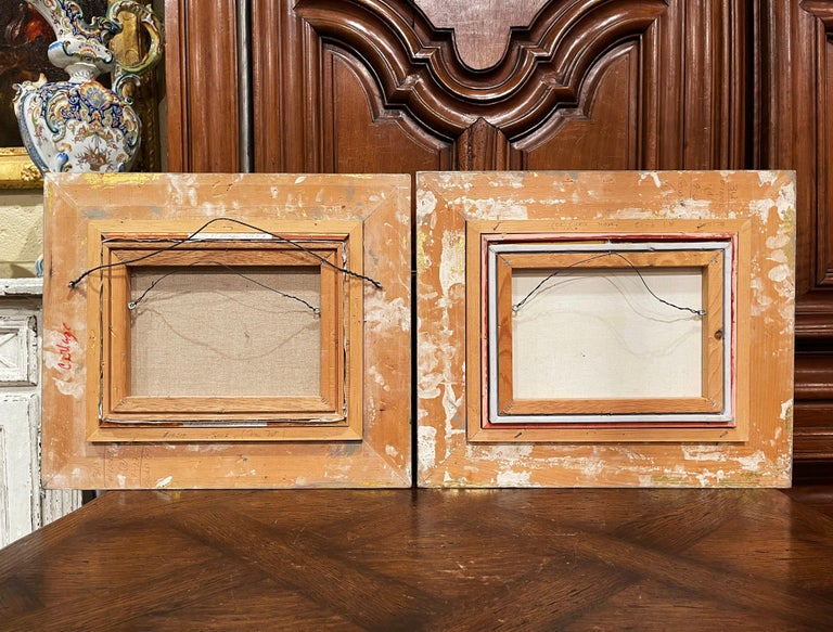 Pair of Vintage Oil on Canvas Paris Scenes Painting in Gilt Frames Signed Lebron For Sale 10