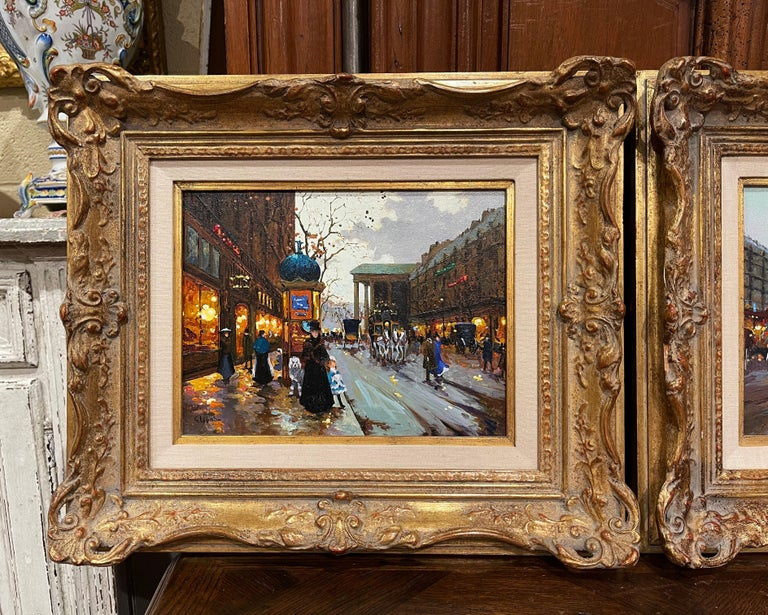 Set in carved gilt wood frames and signed in the lower right and left corner by american artist Robert Lebron, each mid-century art work is painted on canvas and depicts a typical Parisian scene in the style of Edouard Cortes or Galien Laloue. One