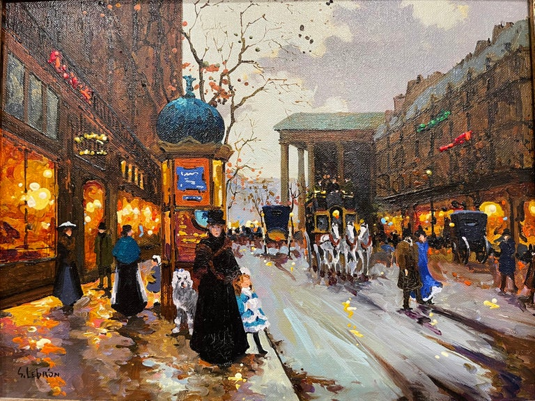 American Pair of Vintage Oil on Canvas Paris Scenes Painting in Gilt Frames Signed Lebron For Sale