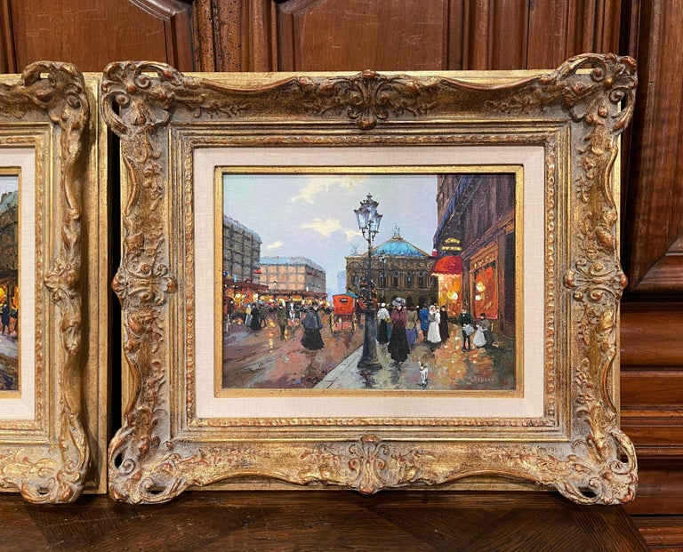 Hand-Carved Pair of Vintage Oil on Canvas Paris Scenes Painting in Gilt Frames Signed Lebron For Sale