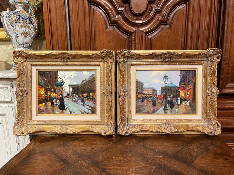 20th Century Pair of Vintage Oil on Canvas Paris Scenes Painting in Gilt Frames Signed Lebron For Sale
