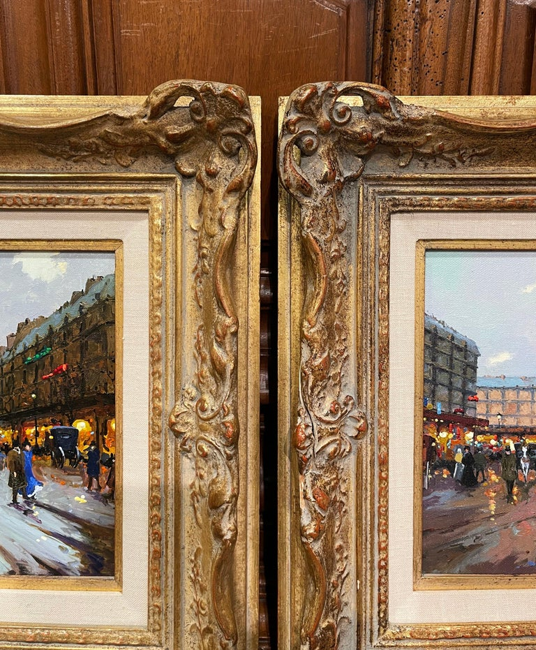 Pair of Vintage Oil on Canvas Paris Scenes Painting in Gilt Frames Signed Lebron For Sale 1