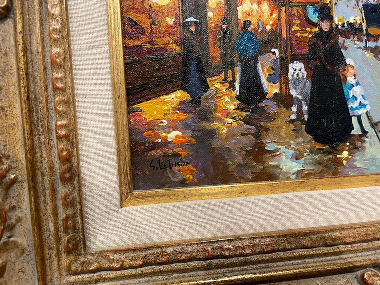 Pair of Vintage Oil on Canvas Paris Scenes Painting in Gilt Frames Signed Lebron For Sale 2
