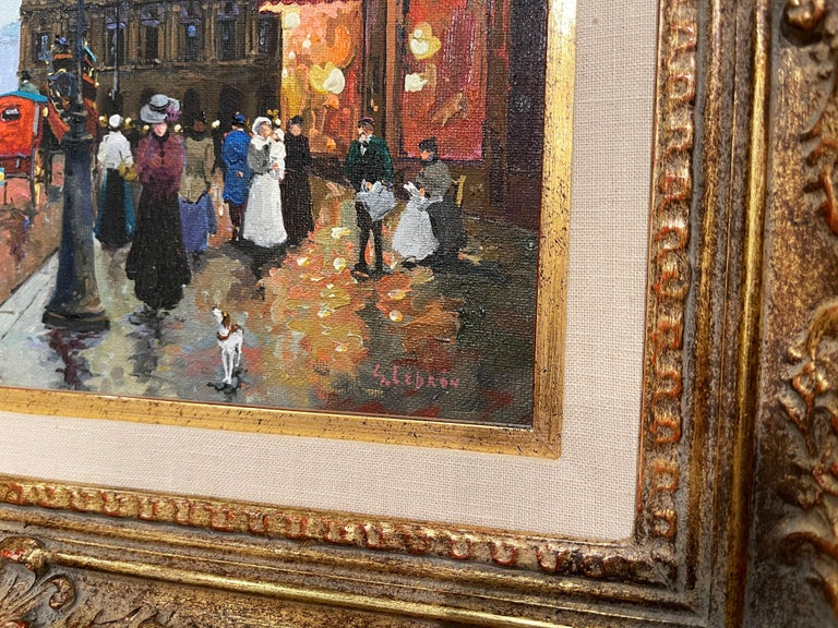 Pair of Vintage Oil on Canvas Paris Scenes Painting in Gilt Frames Signed Lebron For Sale 3