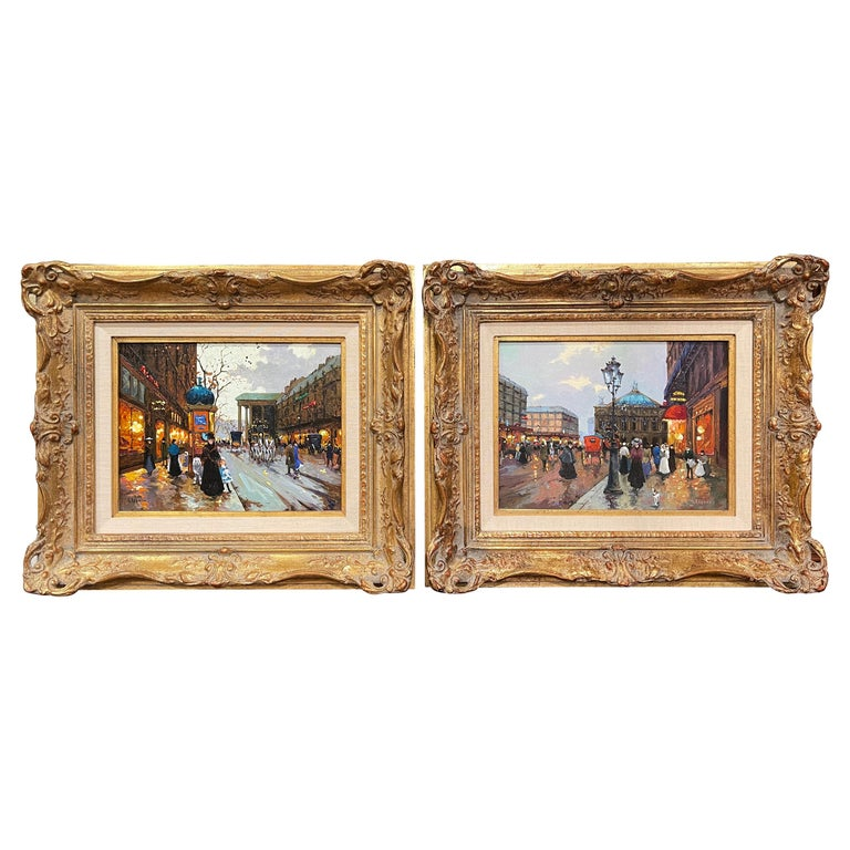 Pair of Vintage Oil on Canvas Paris Scenes Painting in Gilt Frames Signed Lebron For Sale