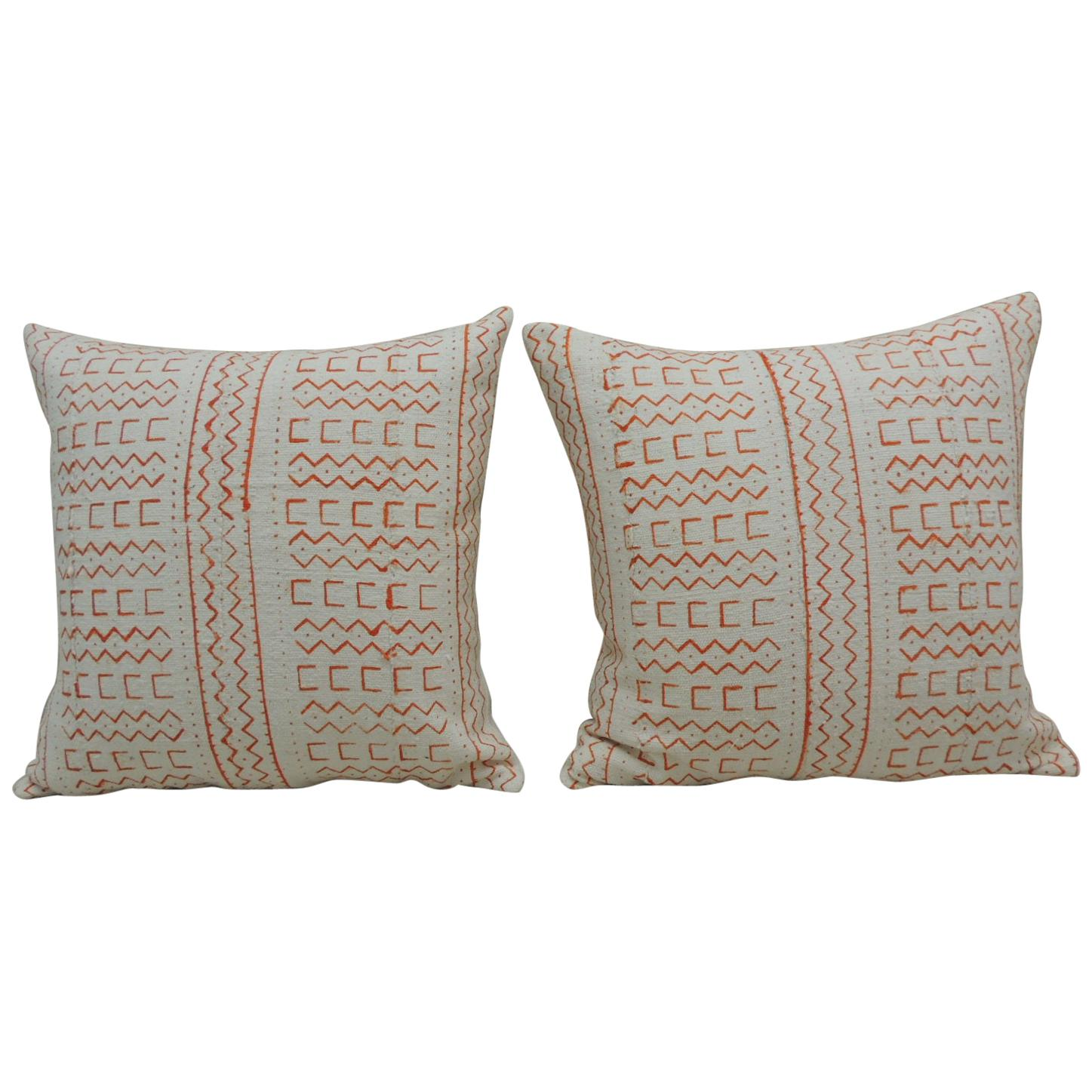 Pair of Vintage Orange and Natural African Mud Cloth Square Decorative Pillows