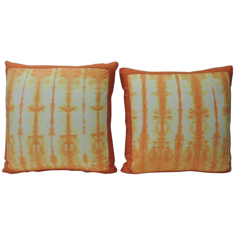 Asian Pair of Vintage Orange Shibori Square Throw Pillows For Sale