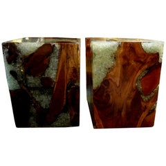Pair of Vintage Organic Modern Fractal Resin and Wood Cube Tables