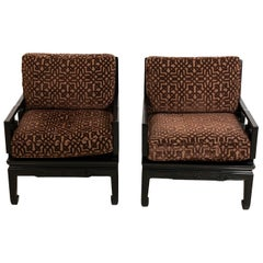 Pair of Vintage Oriental Style Armchairs by Baker