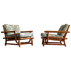Pair of Vintage Oversized Rattan Bamboo Ficks Reed Lounge Chairs and Ottoman