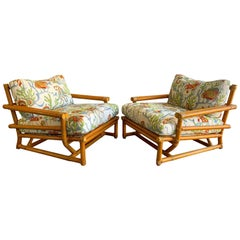 Pair of Vintage Oversized Rattan Bamboo McGuire Lounge Chairs and Ottoman