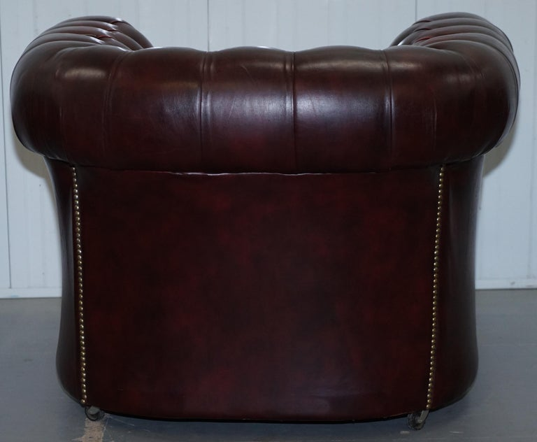 Pair of Vintage Oxblood Leather Hand Made in England Chesterfield Club Armchairs For Sale 4