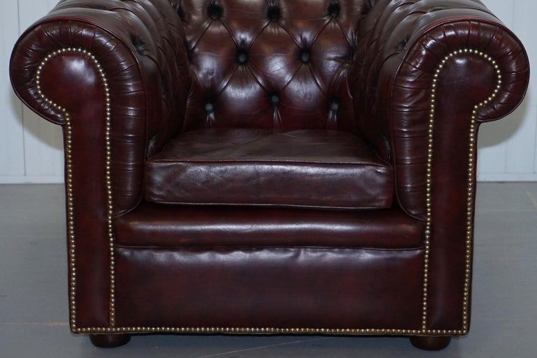 Pair of Vintage Oxblood Leather Hand Made in England Chesterfield Club Armchairs For Sale 11