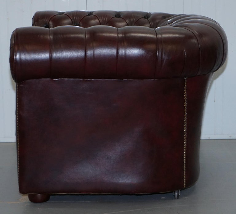 Pair of Vintage Oxblood Leather Hand Made in England Chesterfield Club Armchairs For Sale 12